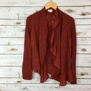 Meadow Rue Paso Doble Lace Patch Ruffle Cardigan
